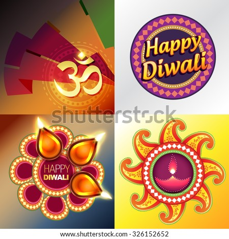 vector set of happy diwali background with colorful diya and abstract illustration - stock vector