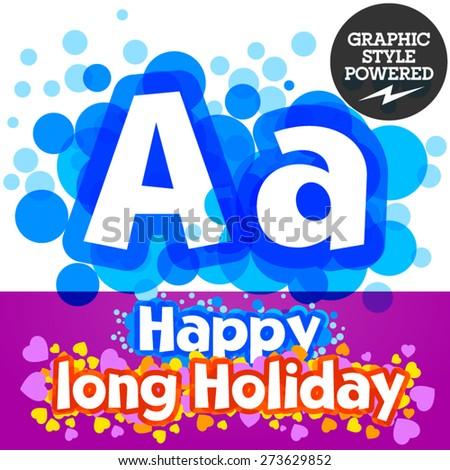 Vector set of happy festive motley alphabet. Letter A - stock vector