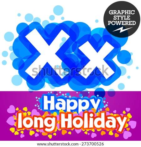 Vector set of happy festive motley alphabet. Letter X - stock vector