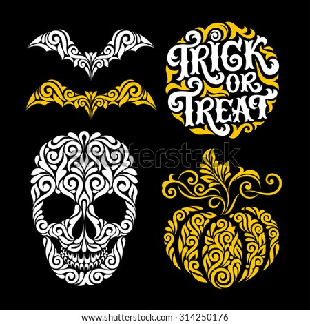 Vector set of Happy Halloween ornate elements: moon, skull, bats and pumpkin. Trick or treat hand drawn lettering for invitation, greeting cards, party design, tattoo, prints and posters