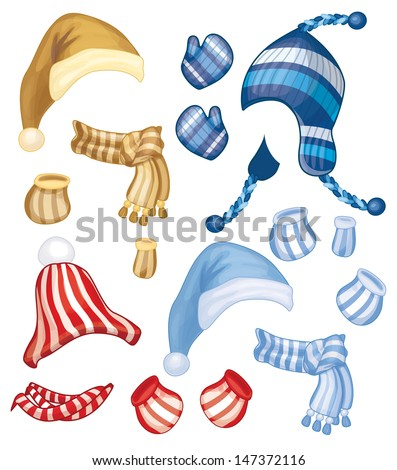 Vector set of hats, scarfs and gloves for design isolated. - stock vector