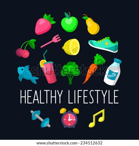 Vector set of Healthy lifestyle icons in trendy flat style - stock vector