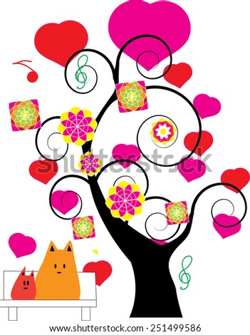 vector set of heart and tree fancy for love  - stock vector