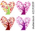vector set of heart-shaped trees - stock vector