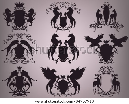 vector set of heraldic shields with animals (all elements are editable) - stock vector