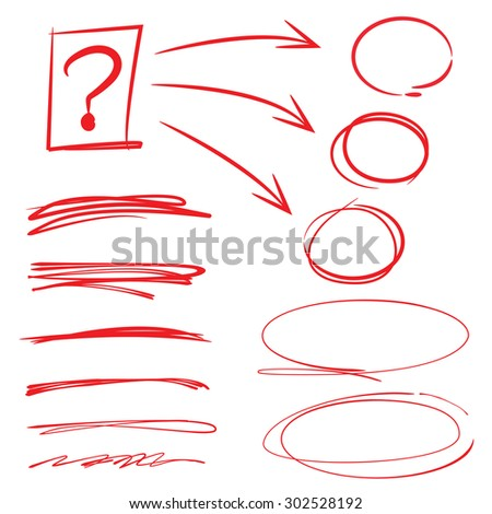 vector set of highlighter elements, circles, underlines - stock vector