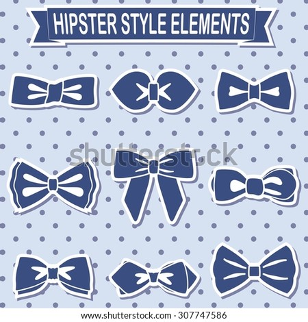 Vector set of hipster bow ties