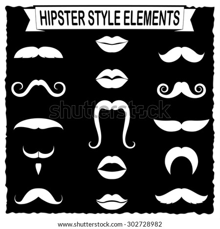 Vector set of hipster mustache and women lips