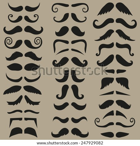 Vector set of hipster mustache. Black silhouette. Easy for edit. Suitable for barber logo, barber shop and retro design.