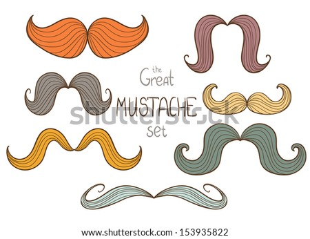Vector set of hipster mustache in different colors and shapes. - stock vector