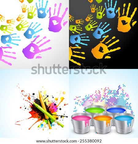 vector set of holi background illustration with pichkari , hand and bucket illustration - stock vector