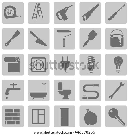 Vector Set of Home Repairing, Building, Construction and Decoration Icons