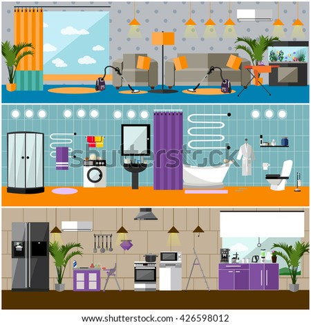Vector set of house interior banners. Apartment interior with furniture, living room, bathroom, kitchen.  - stock vector
