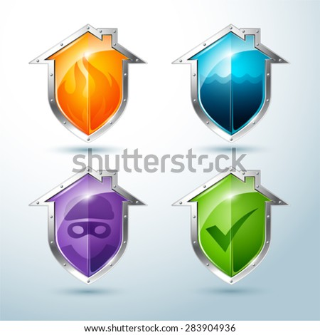 Vector Set of house-shaped shield icons that illustrate danger  - stock vector