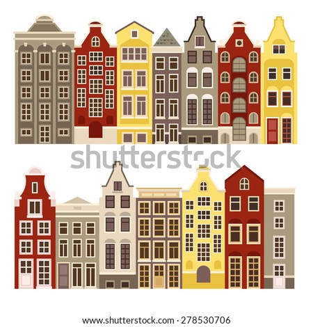 Vector set of houses in the Dutch style. All houses are combined with each other and can be use for greeting cards, covers, stamps, web design  and other purposes.