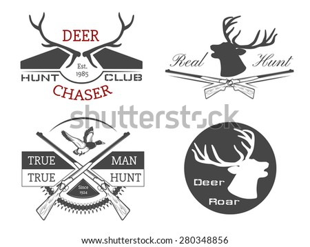 Vector set of  hunting labels and design elements. - stock vector