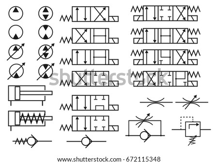 Vector Set Hydraulic Elements Symbols Constructing Stock Vector