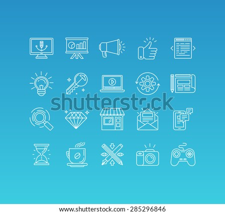 Vector set of 20 icons and sign in mono line style - concepts related to graphic design, online marketing, branding and website development, internet business pictograms