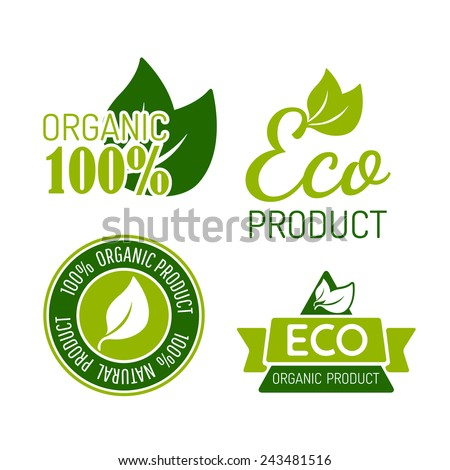 Vector set of icons for organic food and natural products. Eps10