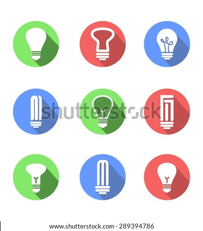 vector set of icons on a theme of lightbulbs