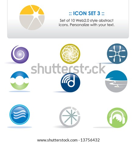 Vector set of 10 icons; personalize with your own text (Icon Set 3)