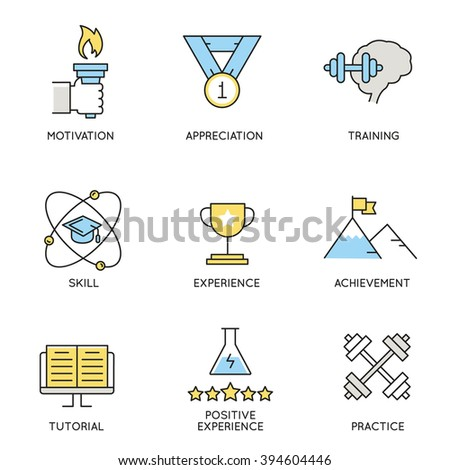 Vector set of icons related to business, corporate management, employee organization and customer relationship management. Flat line pictograms and infographics design elements - part 6 - stock vector