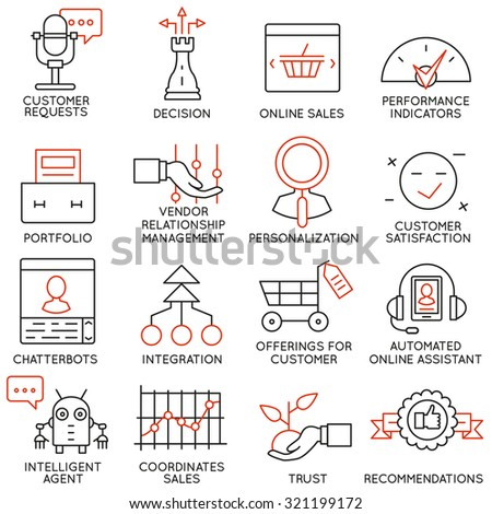 Vector set of 16 icons related to business management, strategy, career progress and business process. Mono line pictograms and infographics design elements - part 15 - stock vector