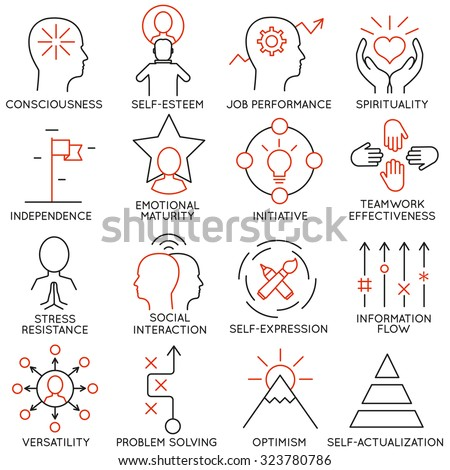 Vector set of 16 icons related to business management, strategy, career progress and business process. Mono line pictograms and infographics design elements - part 21 - stock vector