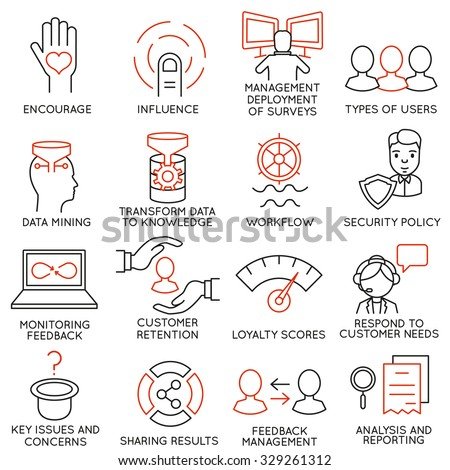 Vector set of 16 icons related to business management, strategy, career progress and business process. Mono line pictograms and infographics design elements - part 27 - stock vector