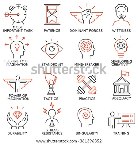 Vector set of 16 icons related to business management, strategy, career progress and business process. Mono line pictograms and infographics design elements - part 39 - stock vector