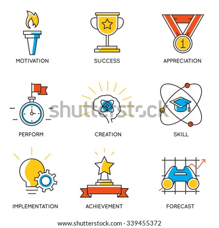 Vector set of icons related to career progress and business management. Infographics design elements - part 1 - stock vector