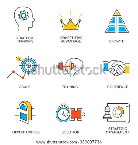 Vector set of icons related to career progress and business management. Infographics design elements - part 3 - stock vector
