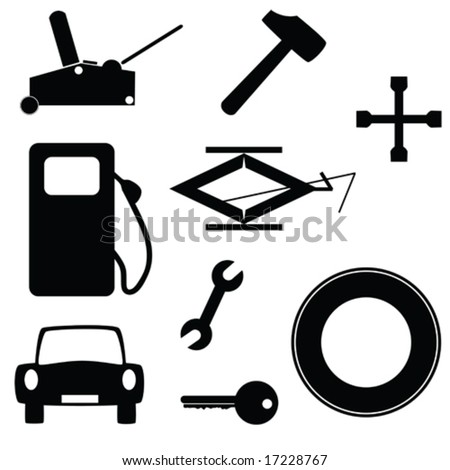 Vector set of icons related to cars and transportation. For jpeg version, please see my portfolio, - stock vector