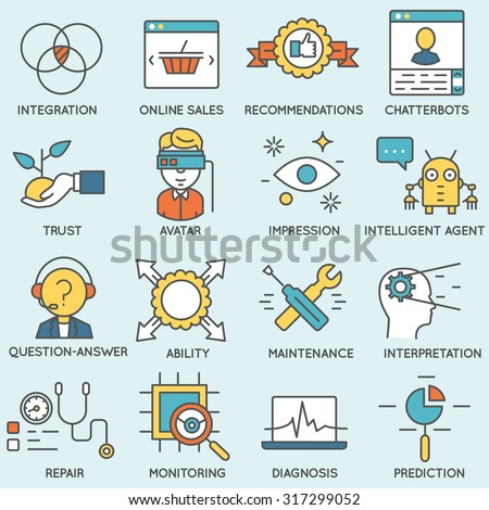 Vector set of icons related to customer relationship management. Flat line pictograms and infographics design elements - part 5 - stock vector