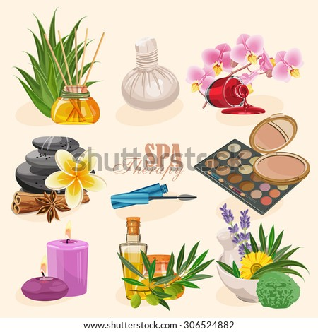 Vector set of icons spa in retro style - stock vector