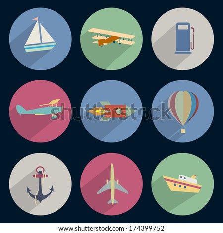 Vector set of icons transport with long shadow effect - stock vector