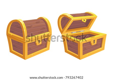 Vector set of icons with cartoon closed and opened brown wooden pirate chests with golden metal stripes and keyhole on white background