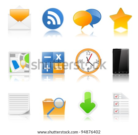 Vector set of icons with reflection - stock vector