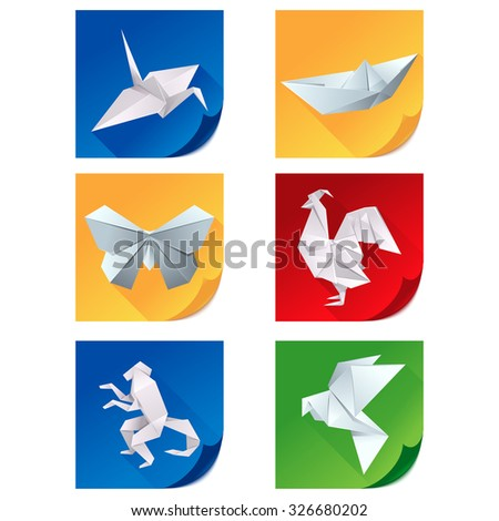 Vector set of icons with white origami animals on colorful backgrounds - stock vector