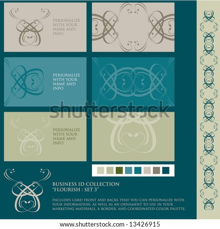 Vector set of identity materials. Business card templates, border, ornament, and color palette. - stock vector