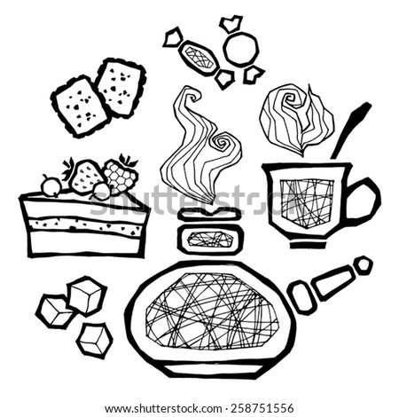 vector set of illustrations of items related to coffee and dessert - stock vector