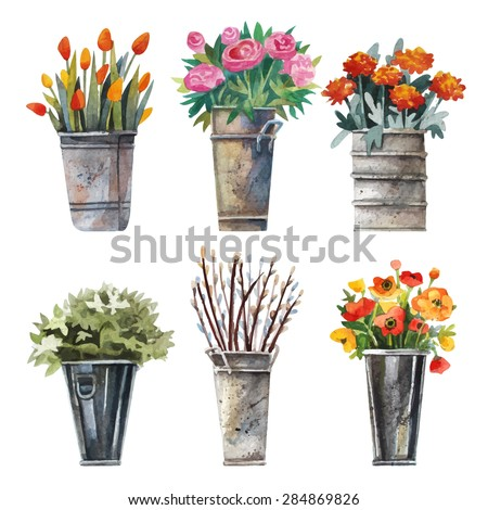 Vector set of images for the flower shop in watercolor style. Bouquets of flowers in pots, tulips, asters, hydrangeas and drtsgie. Watercolor flowers. - stock vector