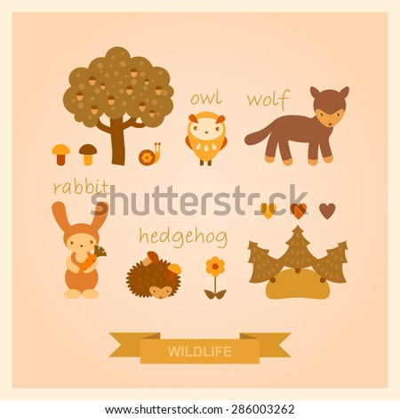 vector set of images of wolf, owl, hedgehog, rabbit and trees - stock vector