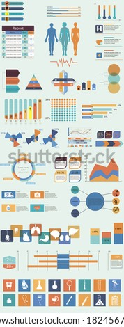 Vector set of infographic elements concerning to medical themes - stock vector