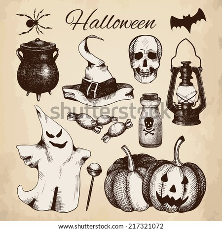Vector set of ink hand drawn halloween illustration. Vintage sketch collection for halloween design isolated on aged background. - stock vector