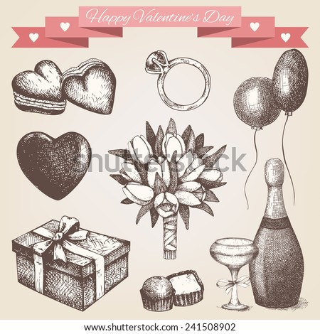 Vector set of ink hand drawn valentine's day illustration. Vintage valentine's day collection isolated aged background - stock vector