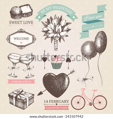 Vector set of ink hand drawn valentine's day illustration. Vintage valentine's day design for greeting cards or invitation. - stock vector