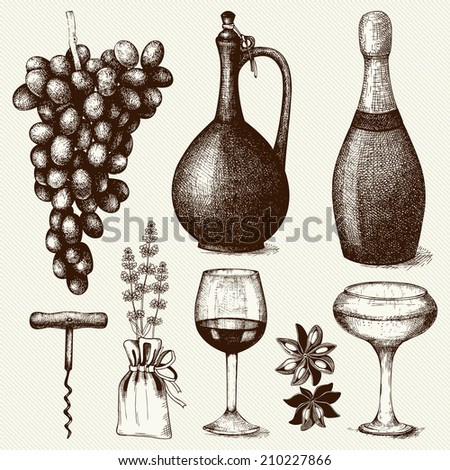 Vector set of  ink hand drawn wine illustration isolated on vintage  background for menu or restaurant design. - stock vector