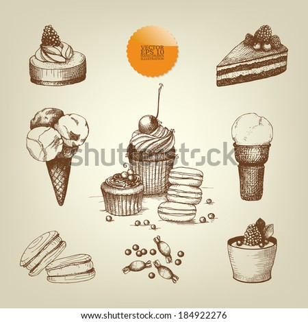 Vector set of ink  vintage hand drawn dessert illustrations. Vintage cupcakes collection - stock vector
