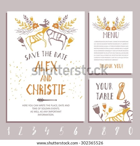 Vector set of invitation cards with  hand drawn flowers elements. Designed in the style of rock paintings. Wedding collection. Vector illustration.